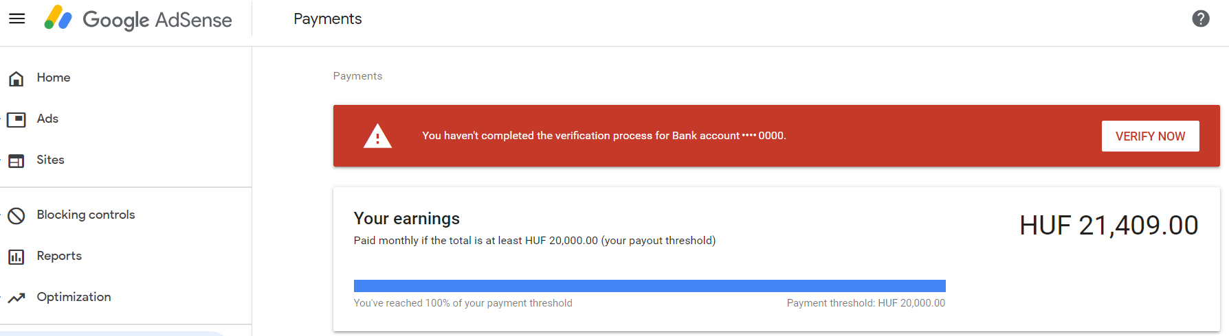 AdSense verification pending status