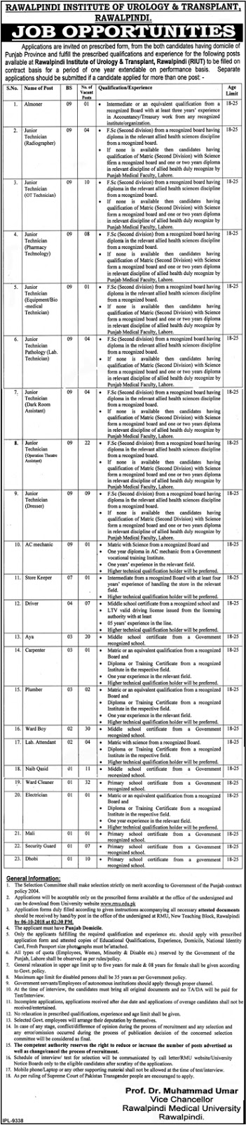 Latest Vacancies Announced in www.ric.gop.pk Rawalpindi Institute Of Cardiology RIP 18 September 2018 - Naya Pak Jobs