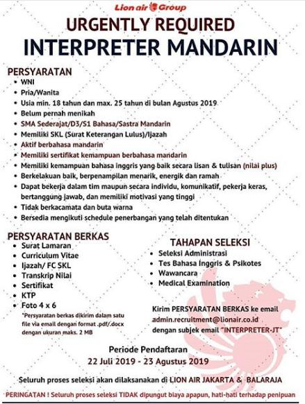 Lowongan Kerja Lion Air Group Deadline 23 Agustus 2019