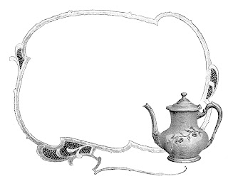 teapot frame border illustration digital clipart