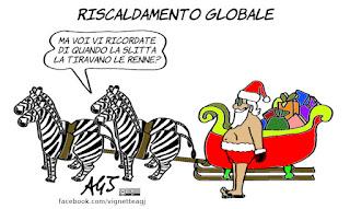 natale, global warming, riscaldamento globale, greta thunberg, umorismo, vignetta