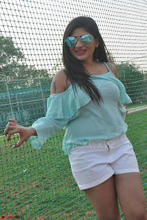 Madhulagna Das looks super cute in White Shorts and Transparent Top 25.JPG