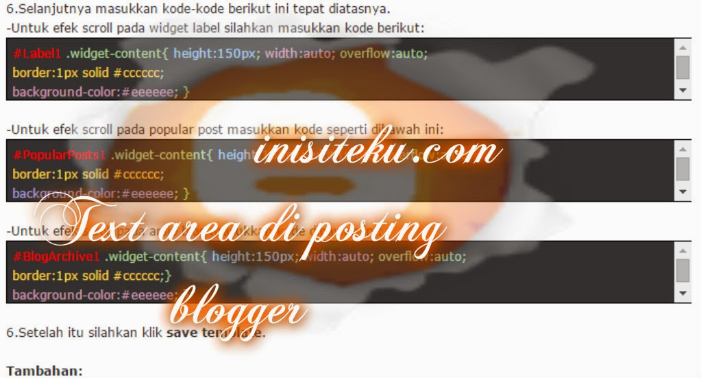 membuat kolom copast (text area) sederhana di posting blogger