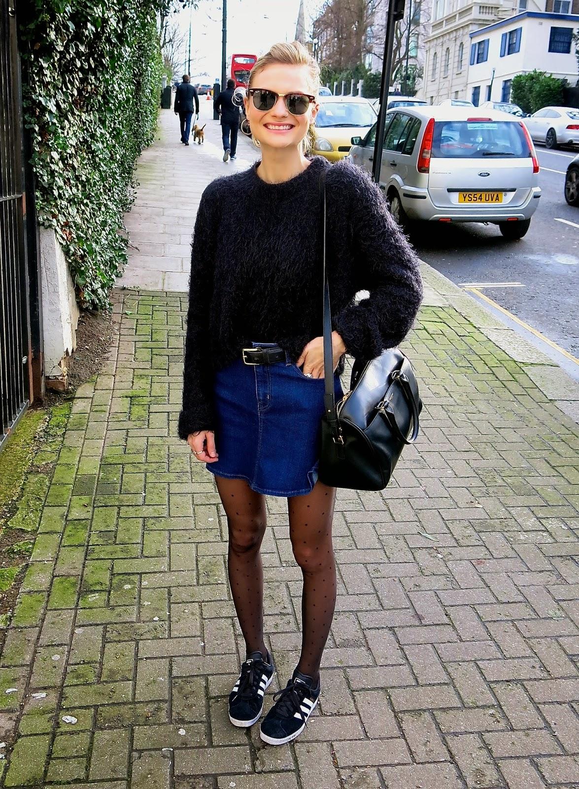 980754698e6c1 I am wearing an H&M coat, an Urban Outfitters knit, a vintage belt, Zara  denim skirt, Tabio polkadot tights, Adidas Gazelles II, tortoiseshell  RayBan ...