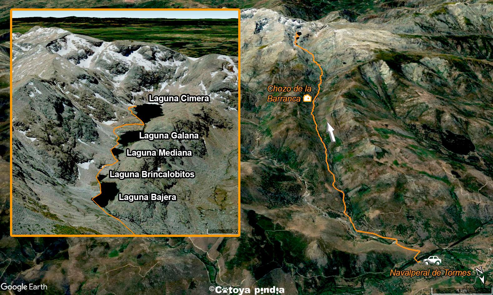 Mapa 3D de subida a las Cinco Lagunas de la Sierra de Gredos.