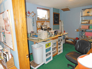 sewing room | cutting table | green carpet