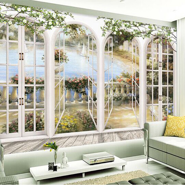 Mural wallpaper for home Custom 3D Photo Wallpaper Window view landscape European Bedroom Living Room Painting