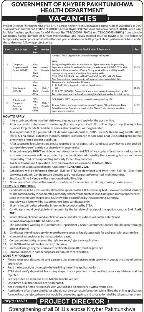 Health Department Jobs 2021 in Pakistan - Online Apply :- www.etea.edu.pk