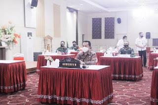 Pjs. Gubernur Agus Fatoni Ikut Rakor Bahas Pelaksanaan Regulasi Omnibus Law Dipimpin  Menkopolhukam Mahfud MD