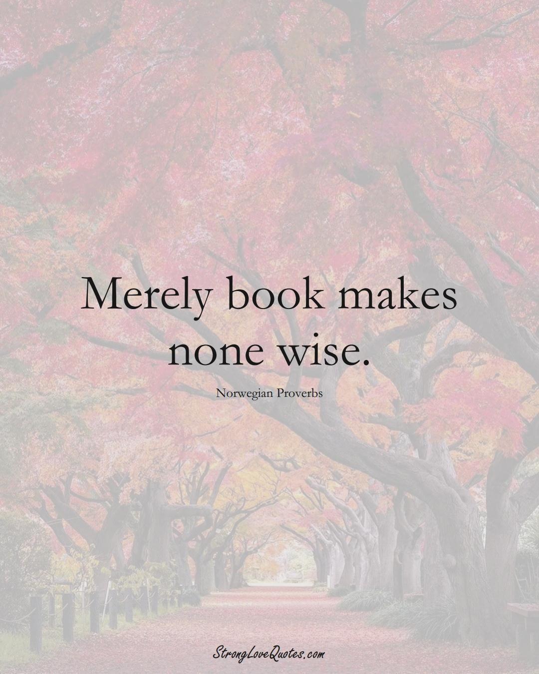 Merely book makes none wise. (Norwegian Sayings);  #EuropeanSayings