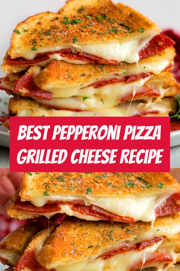 Pepperoni Pizza Grilled CheeseTake your favorite grilled cheese sandwich and stuff it turn it into a pepperoni pizza! This fun twist on a classic is stuffed with mozzarella, pepperoni and sandwiched Between Two Pieces Of Buttery Garlic Toast. #dinner #dinnerideas #mozzarella #pizza #sandwich