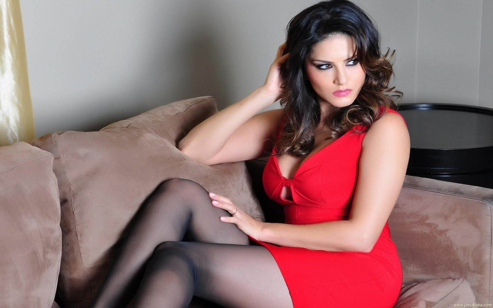 Stunning brunette sunny leone shows off her red lace panties