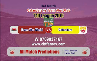 T10 League 2019 QAL vs TAD 3rd T10 2019 Match Prediction Today Reports