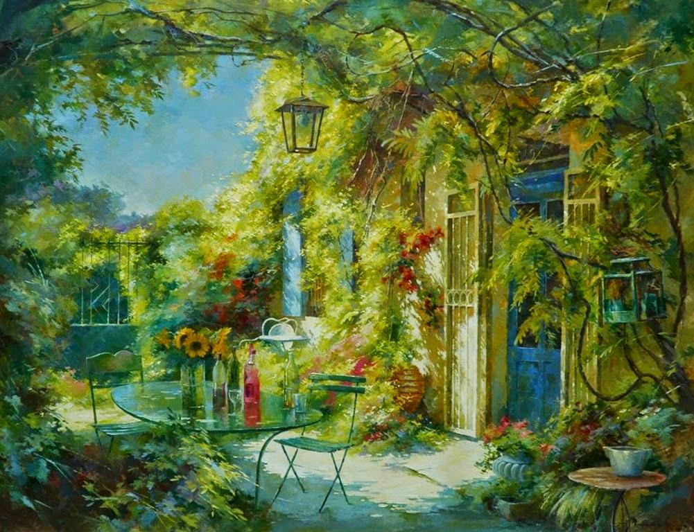 Im genes arte pinturas coloridos cuadros de casas con for Dibujos en techos de casas