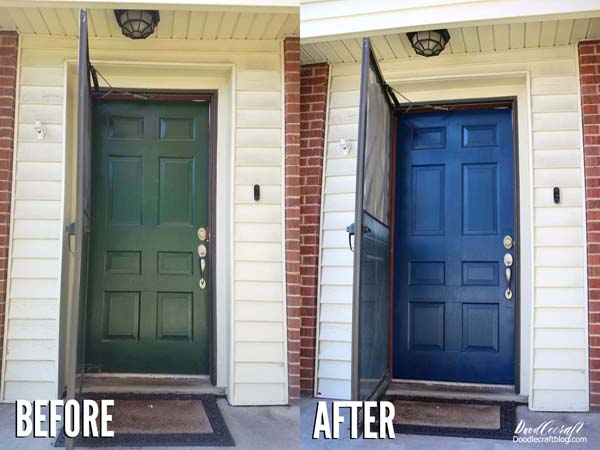 Paint Matching Exterior Doors of the Home with Blue Folk Art Paint in just a day. Perfect for curb appeal in Pantone's color of the year 2020.
