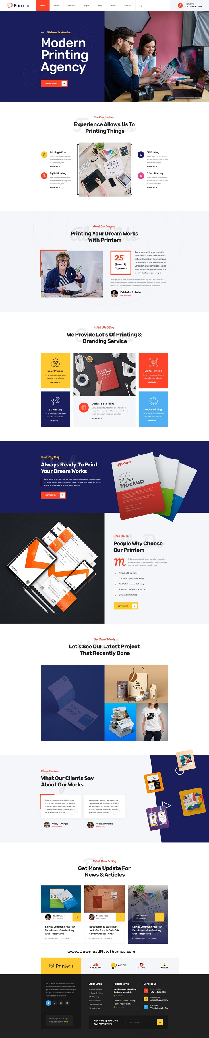 Printing Company PSD Template
