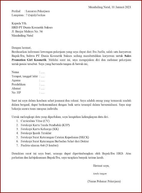 Contoh Application Letter Untuk Sales Promotion Girl Kosmetik (Fresh Graduate) Berdasarkan Informasi Dari Seseorang