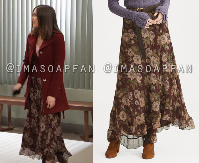 Willow Tait, Katelyn MacMullen, Burgundy Floral Maxi Skirt, General Hospital, GH