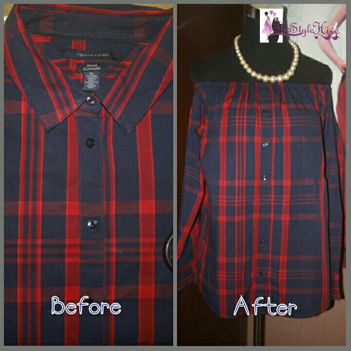 5bf4da3b163 DIY Tutorial - Men s Shirt Into An Off-The-Shoulder Shirt Or Dress ...