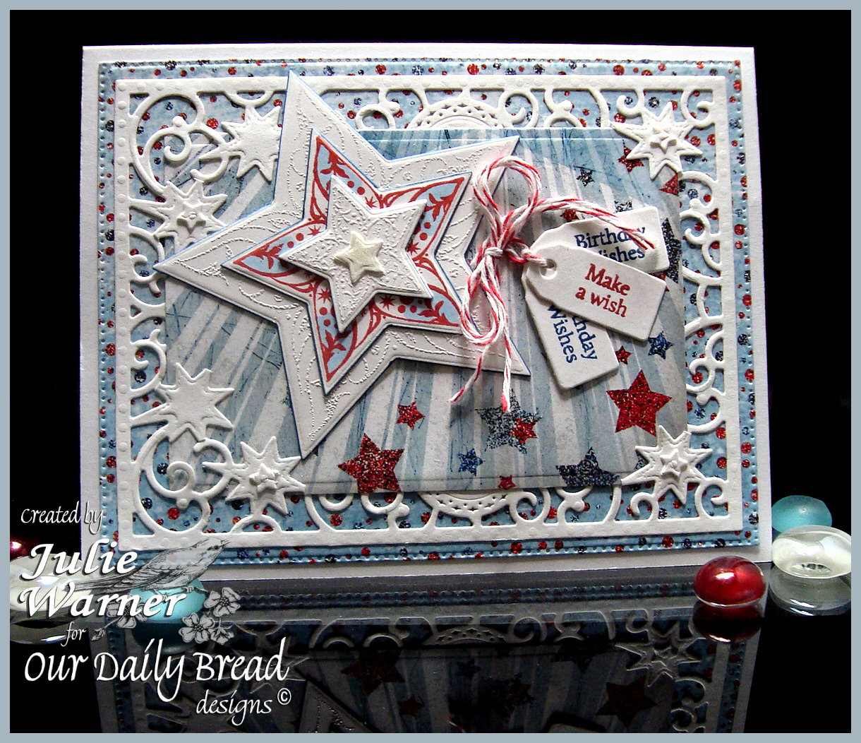 Stamps -Our Daily Bread Designs Mini Tag Sentiments, Shine On, ODBD Custom Mini Tags Dies, ODBD Patriotic Paper Collection, ODBD Custom Sparkling Stars Dies, ODBD Custom Flourished Star Pattern Die