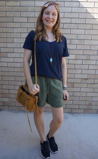 navy stripe tee and olive embroidered shorts with mustard micro regan bag and floral head scarf | away from blue