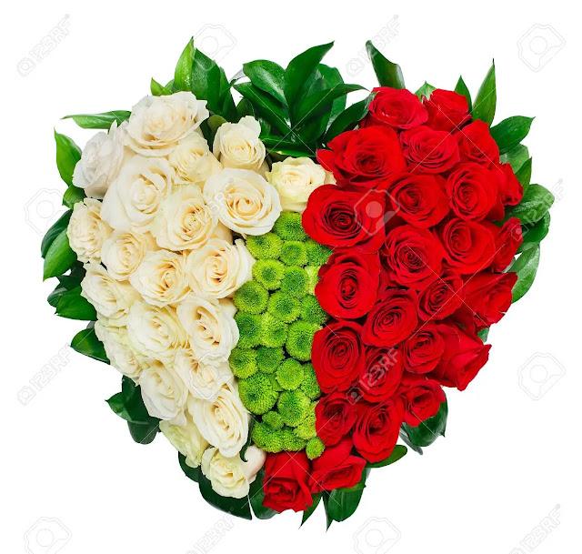 باقة ورد احمر وابيض قلب حب