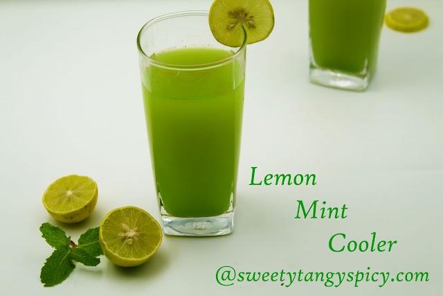 Mint Lime cooler | Lemon mint juice or Green lemonade