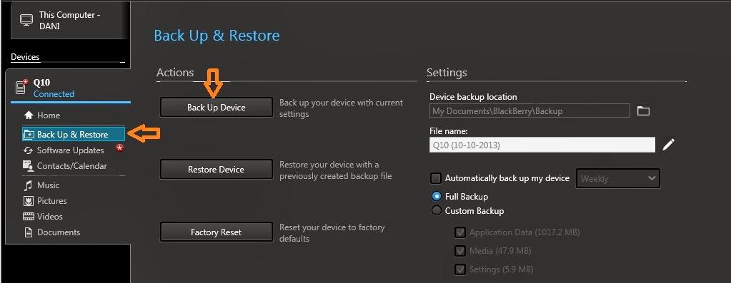 Cara backup data BlackBerry 10   myBB10