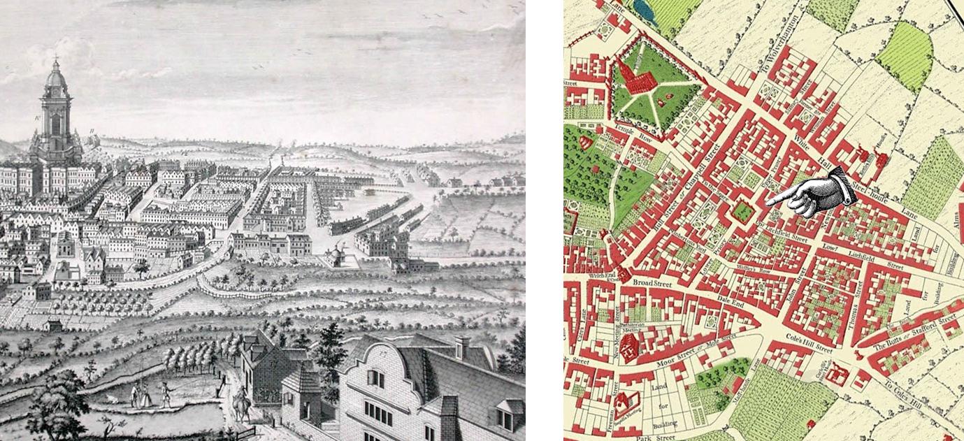 1732 Prospect & 1731 Map of Birmingham, by William Westley