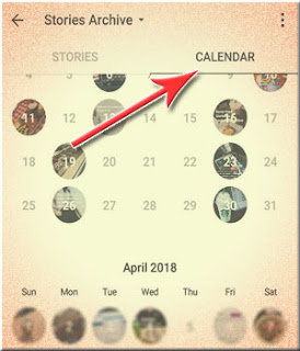 Fitur Arsip Stories Instagram Calendar View
