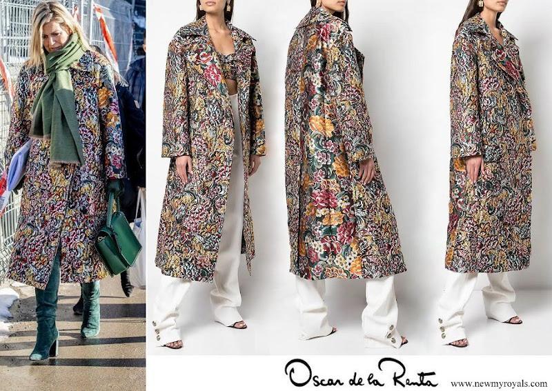 Queen Maxima wore OSCAR DE LA RENTA long floral brocade coat