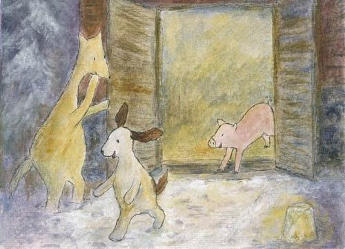 Postcard illustration of Hulmu Hukka and Haukku Spaniel rescuing a pig before Christmas