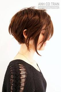 قص الشعر بأطوال مختلفة بحيث يكون الشعر في الجزء الأمامي من الرأس أطول من الباقي ، ثم صبغه باللون البني الغامق مع البني الفاتح.