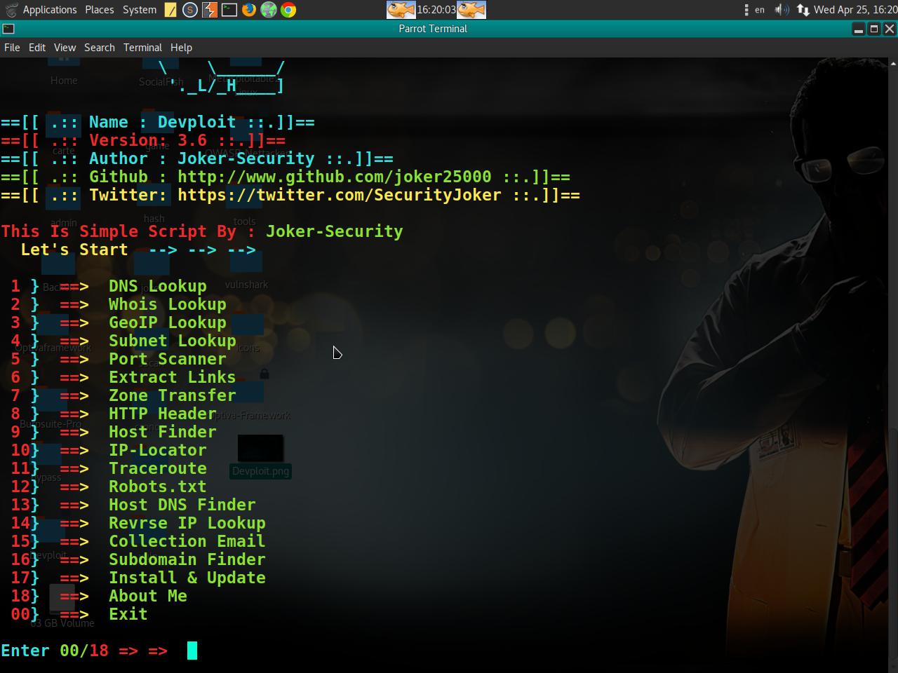 Devploit v3 6 - Information Gathering Tool