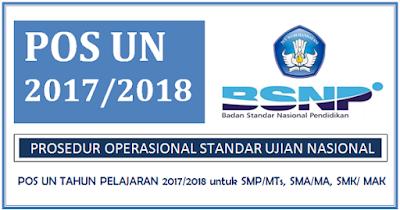 POS UN Tahun Pelajaran 2017/2018 Untuk SMP/Mts, SMA/MA, SMK/MAK BSNP