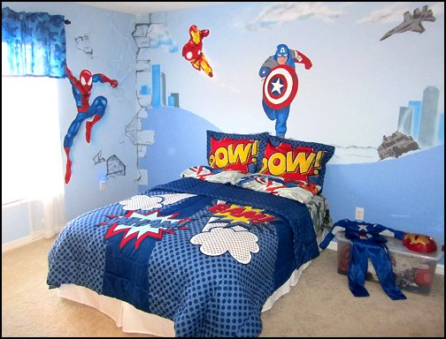 marvel wall art avengers superman bedding primary color bedroom
