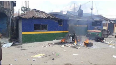 BREAKING: 'Seven shot' as another police station is razed in Lagos