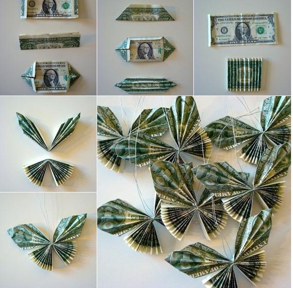 Mariposas con billetes para regalar