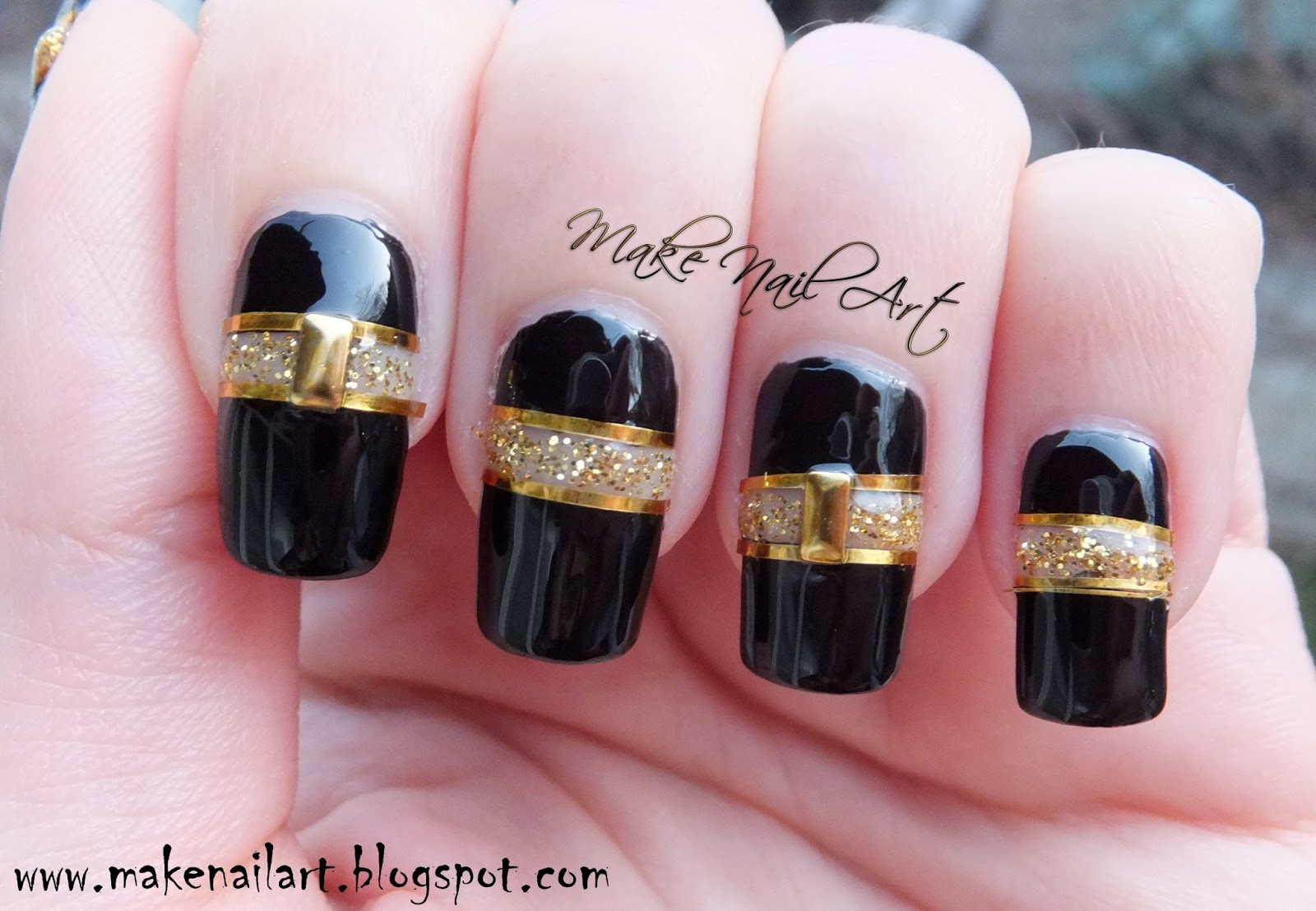 Black And Gold Cut Out Nail Art Design Tutorial