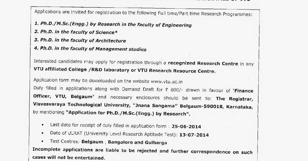 Doctor of Philosophy (Ph D): VTU Ph D Notification 2014