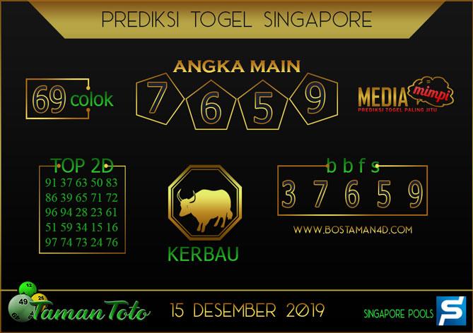 Prediksi Togel SINGAPORE TAMAN TOTO 15 DESEMBER 2019