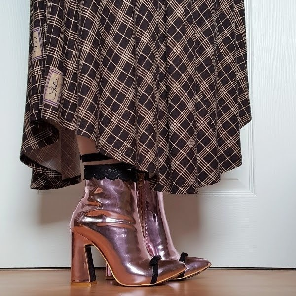 wearing studio by preen checked dress and irregular choice Anastasia pink boots