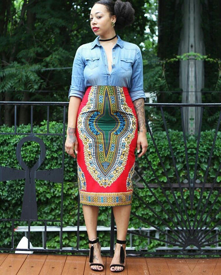 Dressing des 4 Saisons Zuvaa African style Dashiki Jupe crayon pencil skirt red rouge Concours