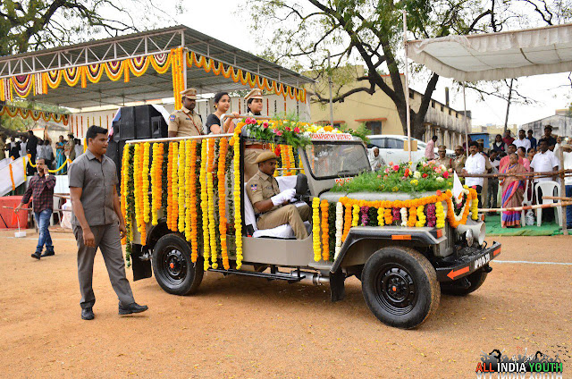Wanaparthy collector Sri Swetha Mohanty on a government vehicle