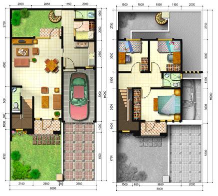 lingkar warna: 5 denah rumah minimalis ukuran 8x16 meter 4