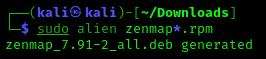 converting rpm files to dev using zenmap