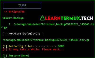 TERBR Termux - Backup and Restore Termux Data