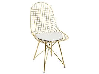 silla comedor rejilla metalica oro