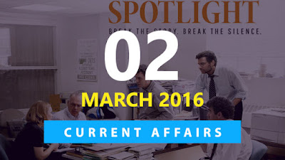 Current Affairs Quiz 2 March 2016