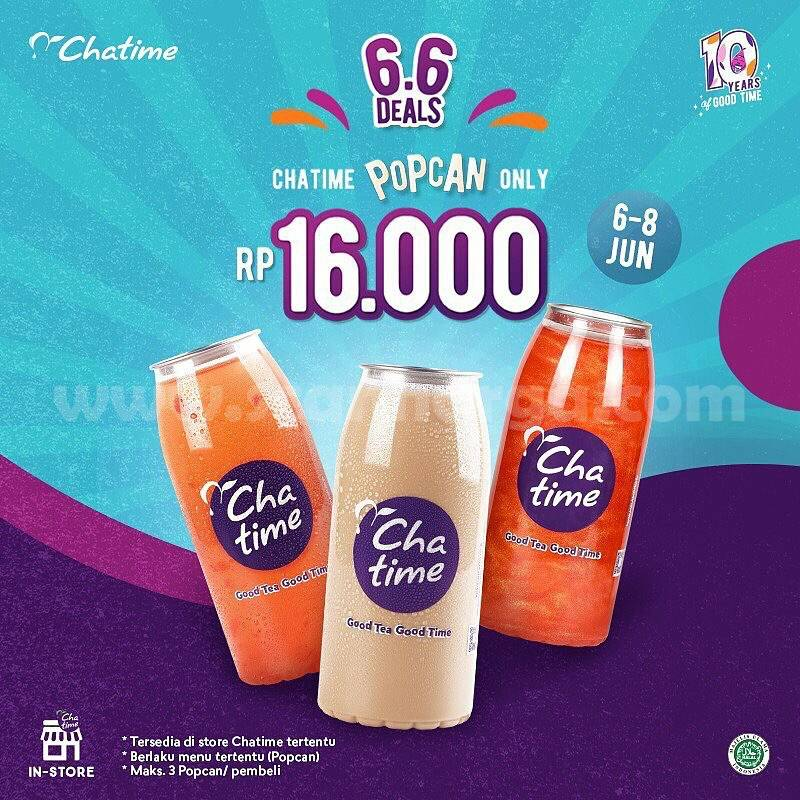Promo CHATIME 6.6 DEALS - Menu Chatime Popcan & Large Cup Harga hanya Rp 16.000 2